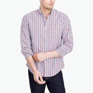 J crew purple black plaid button down shirt men